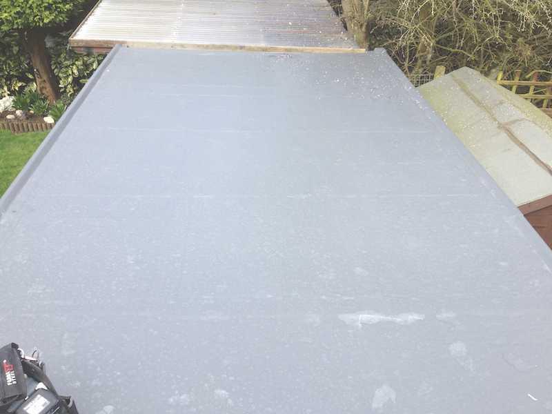 New fiberglass garage roof