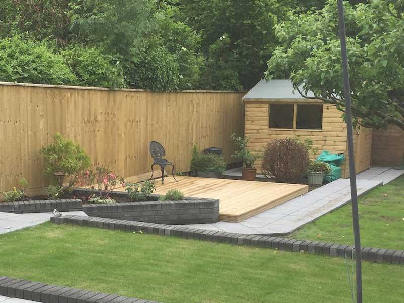 New patio, decking and shed